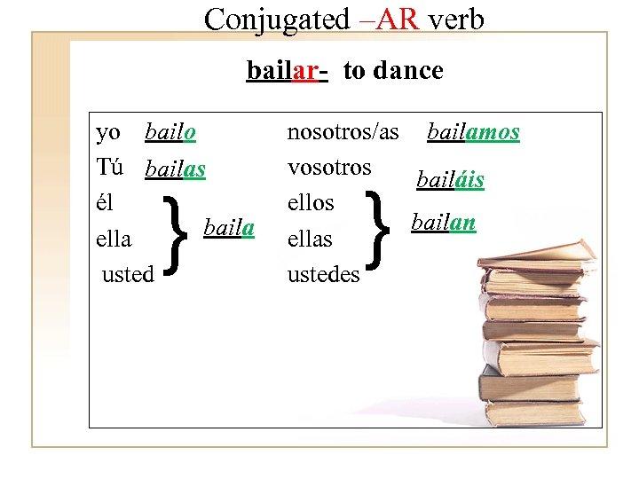 Conjugated –AR verb bailar- to dance yo bailo Tú bailas él baila ella usted