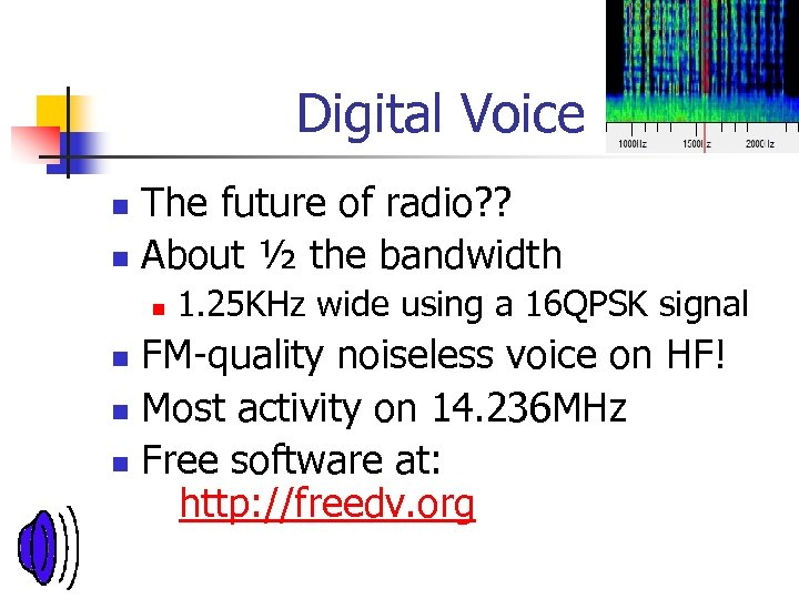 Digital Voice The future of radio? ? n About ½ the bandwidth n n