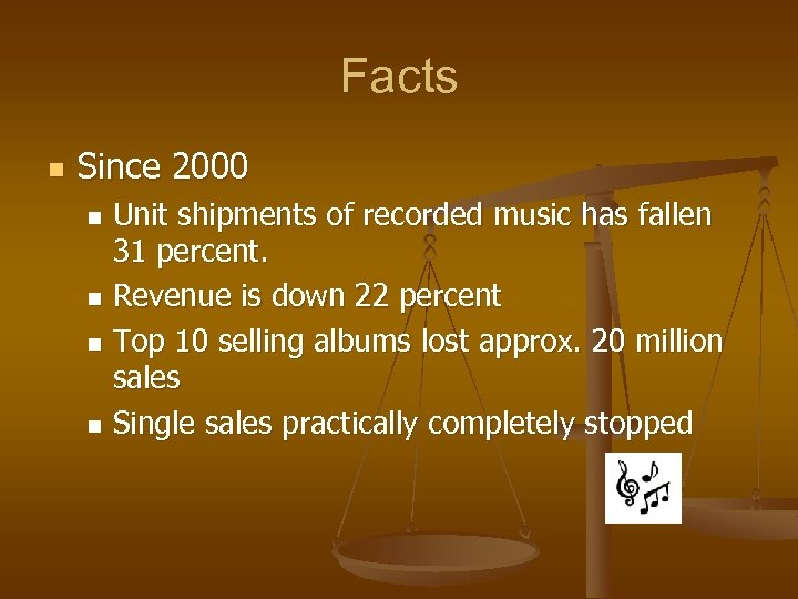 Facts n Since 2000 Unit shipments of recorded music has fallen 31 percent. n