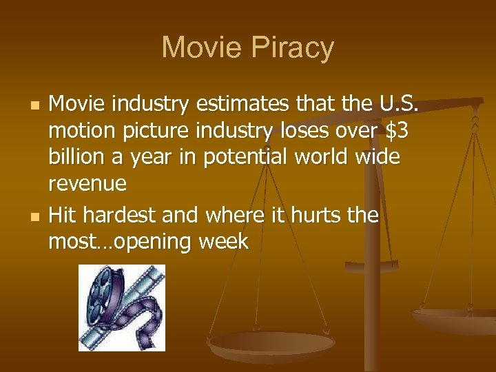 Movie Piracy n n Movie industry estimates that the U. S. motion picture industry