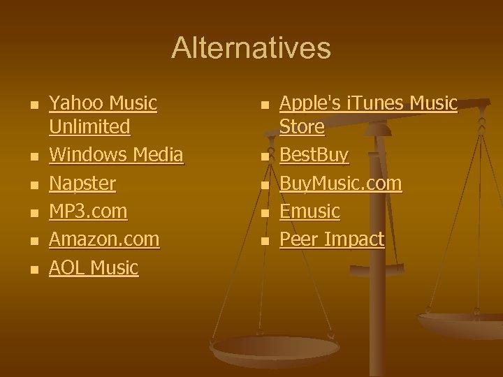 Alternatives n n n Yahoo Music Unlimited Windows Media Napster MP 3. com Amazon.