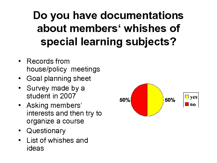 Do you have documentations about members' whishes of special learning subjects? • Records from