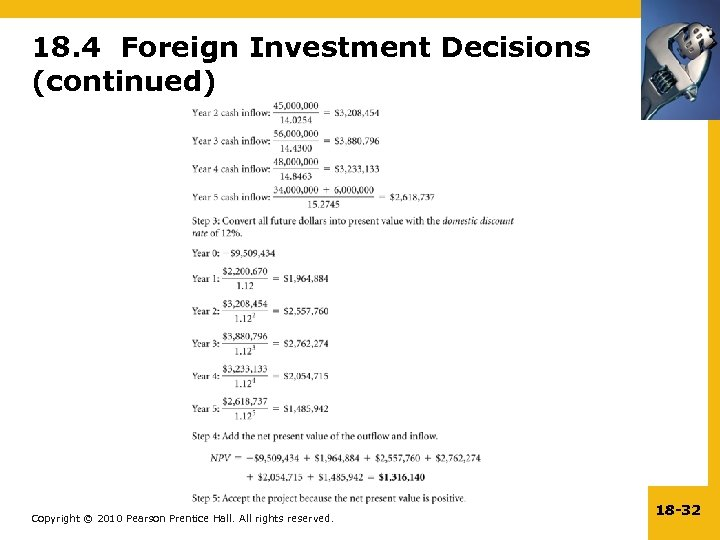 18. 4 Foreign Investment Decisions (continued) Copyright © 2010 Pearson Prentice Hall. All rights