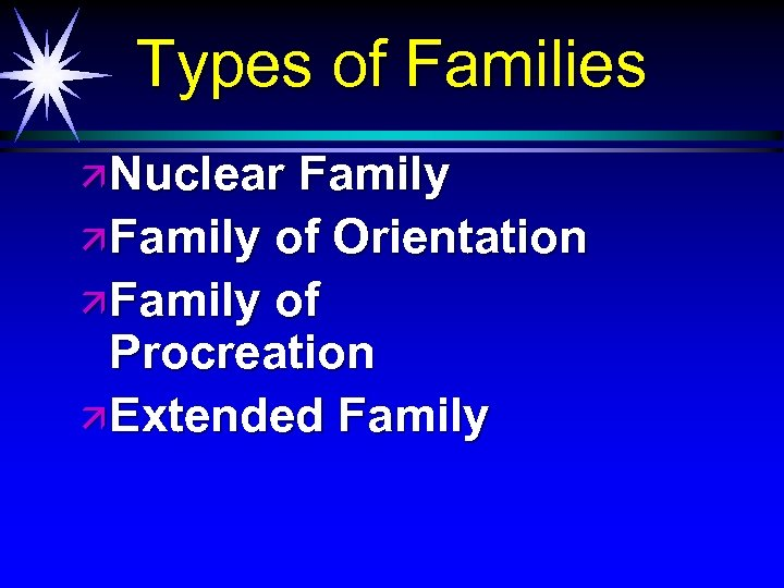Types of Families ä Nuclear Family ä Family of Orientation ä Family of Procreation