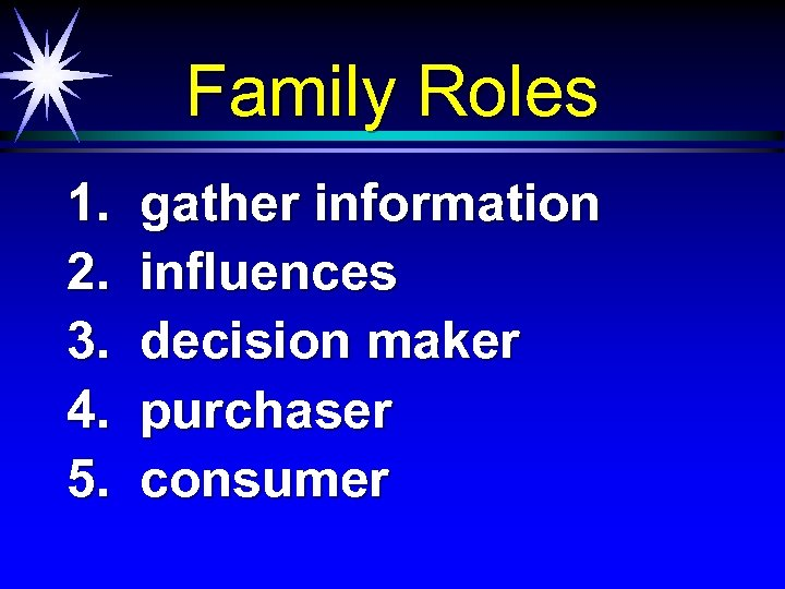 Family Roles 1. 2. 3. 4. 5. gather information influences decision maker purchaser consumer