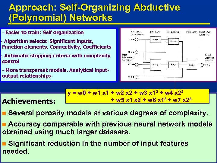 Approach: Self-Organizing Abductive (Polynomial) Networks - Easier to train: Self organization - Algorithm selects: