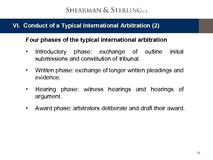 VI. Conduct of a Typical International Arbitration (2) Four phases of the typical international