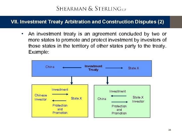 VII. Investment Treaty Arbitration and Construction Disputes (2) • An investment treaty is an