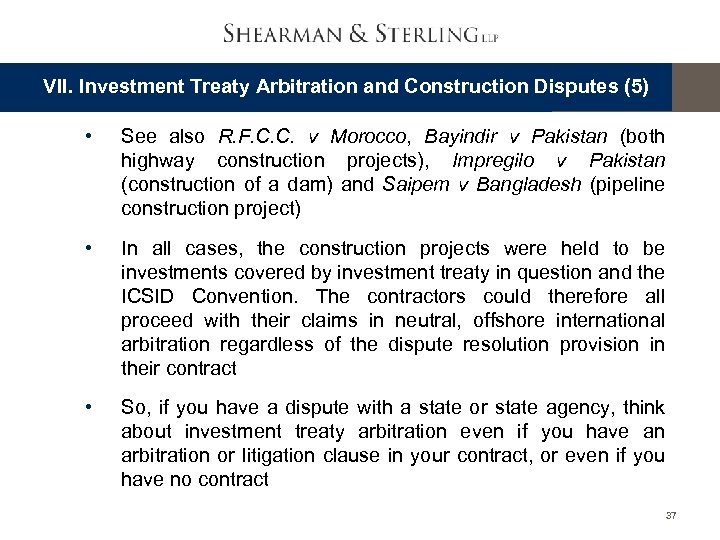 VII. Investment Treaty Arbitration and Construction Disputes (5) • See also R. F. C.