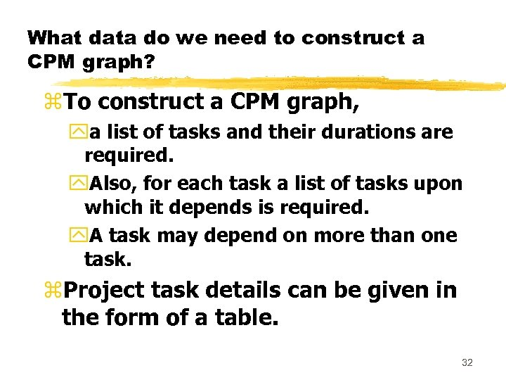 What data do we need to construct a CPM graph? z. To construct a