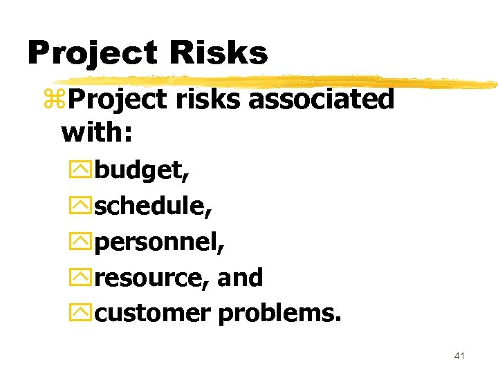 Project Risks z. Project risks associated with: ybudget, yschedule, ypersonnel, yresource, and ycustomer problems.