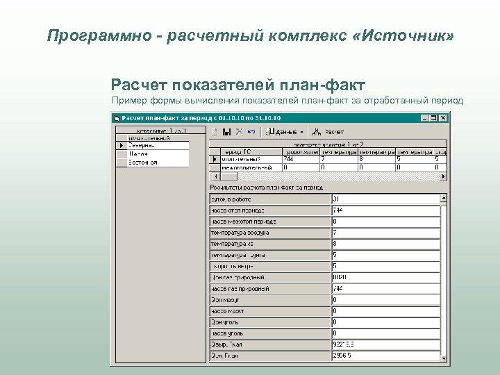 Программно - расчетный комплекс «Источник» Расчет показателей план-факт Пример формы вычисления показателей план-факт за
