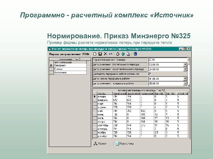 Программно - расчетный комплекс «Источник» Нормирование. Приказ Минэнерго № 325 Пример формы расчета нормативов