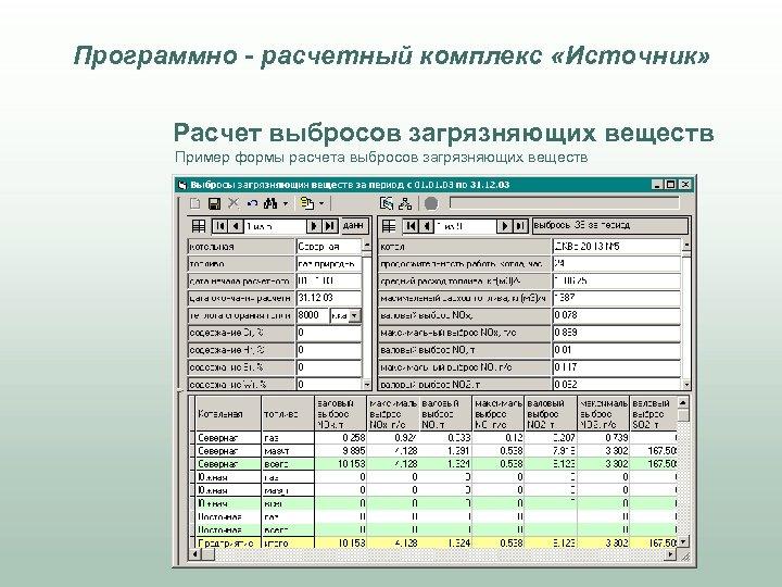 Программно - расчетный комплекс «Источник» Расчет выбросов загрязняющих веществ Пример формы расчета выбросов загрязняющих
