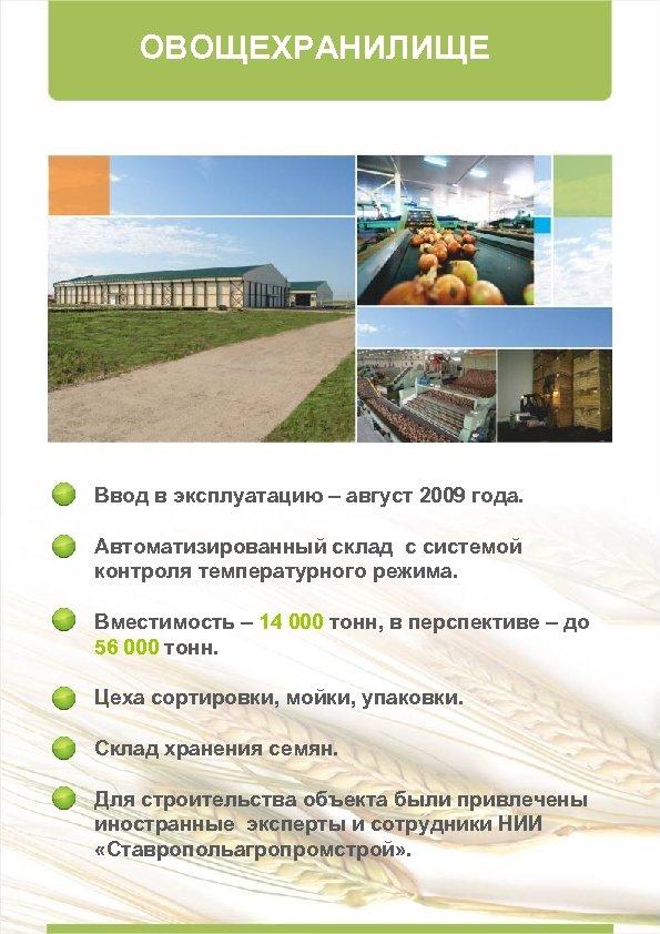 ОВОЩЕХРАНИЛИЩЕ Ввод в эксплуатацию – август 2009 года. Автоматизированный склад с системой контроля температурного