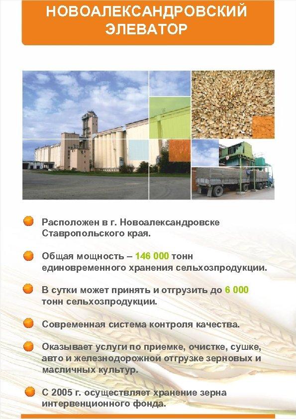 НОВОАЛЕКСАНДРОВСКИЙ ЭЛЕВАТОР Расположен в г. Новоалександровске Ставропольского края. Общая мощность – 146 000 тонн
