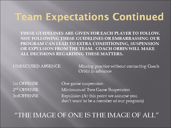 Team Expectations Continued THESE GUIDELINES ARE GIVEN FOR EACH PLAYER TO FOLLOW. NOT FOLLOWING