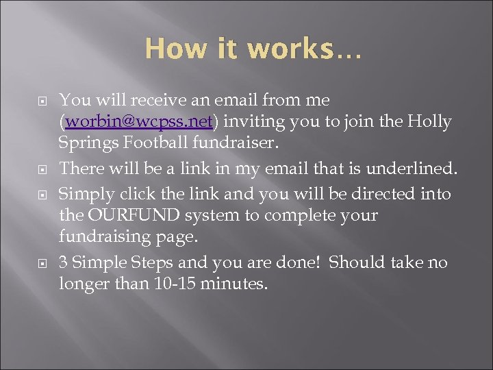 How it works… You will receive an email from me (worbin@wcpss. net) inviting you