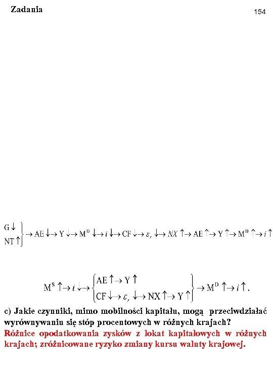 Zadania 154 c) Jakie czynniki, mimo mobilności kapitału, mogą przeciwdziałać wyrównywaniu się stóp procentowych