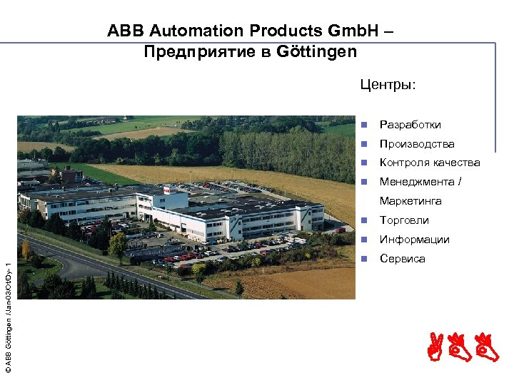 ABB Automation Products Gmb. H – Предприятие в Göttingen Центры: n Разработки n Производства