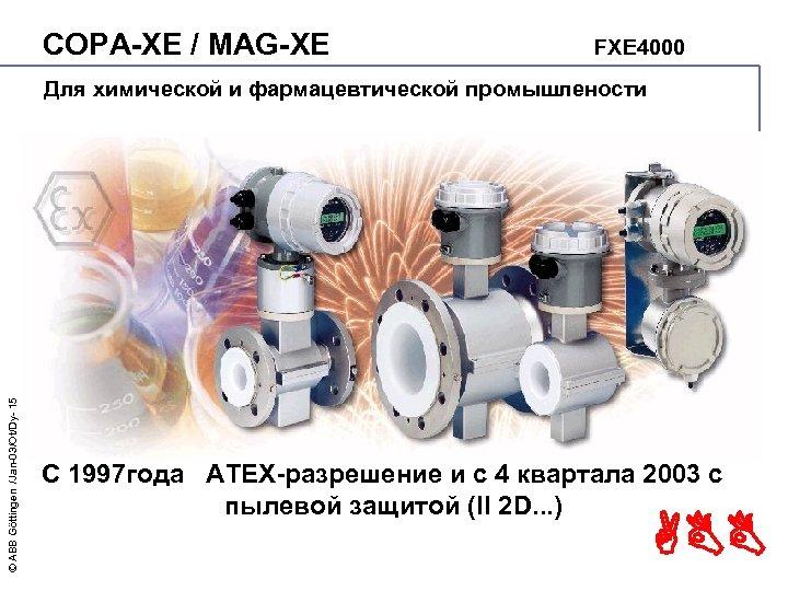 COPA-XE / MAG-XE FXE 4000 © ABB Göttingen /Jan-03/Ot/Dy- 15 Для химической и фармацевтической