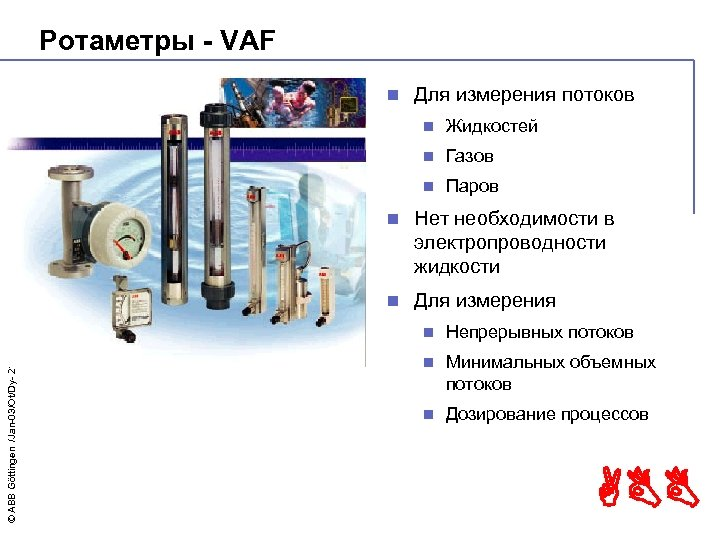 Ротаметры - VAF n Для измерения потоков n Жидкостей n Газов n Паров n