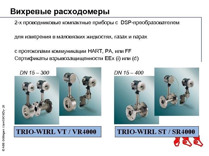 Вихревые расходомеры 2 -х проводниковые компактные приборы с DSP-преобразователем для измерения в маловязких жидкостях,