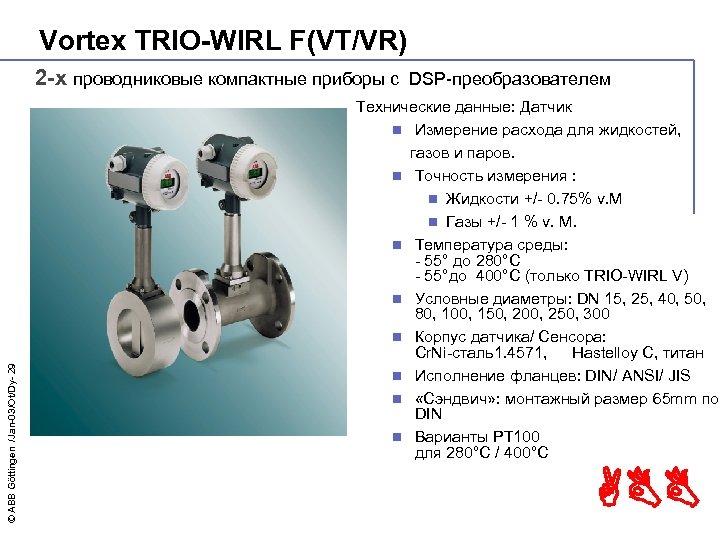 Vortex TRIO-WIRL F(VT/VR) © ABB Göttingen /Jan-03/Ot/Dy- 29 2 -х проводниковые компактные приборы с