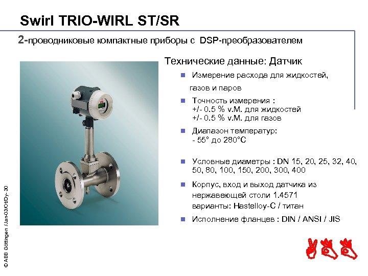 Swirl TRIO-WIRL ST/SR 2 -проводниковые компактные приборы с DSP-преобразователем Технические данные: Датчик n Измерение