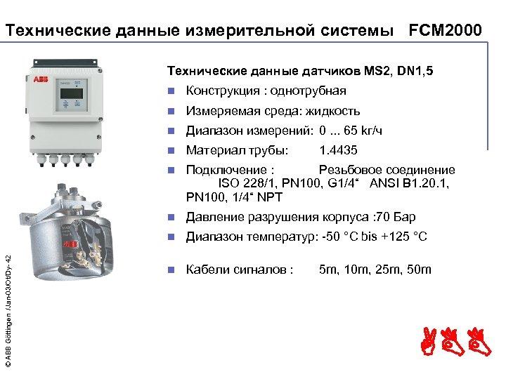 Технические данные измерительной системы FCM 2000 Технические данные датчиков MS 2, DN 1, 5