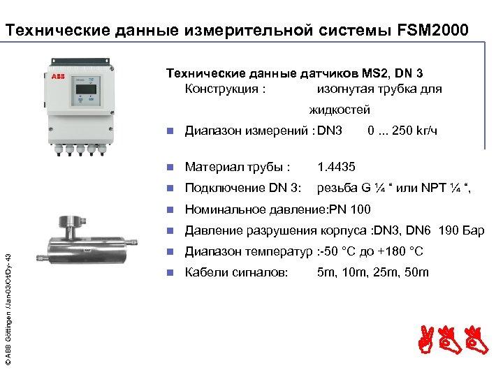 Технические данные измерительной системы FSM 2000 Технические данные датчиков MS 2, DN 3 Конструкция