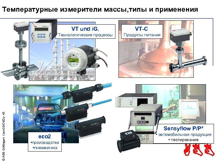 Температурные измерители массы, типы и применения VT-C Технологические процессы © ABB Göttingen /Jan-03/Ot/Dy- 45