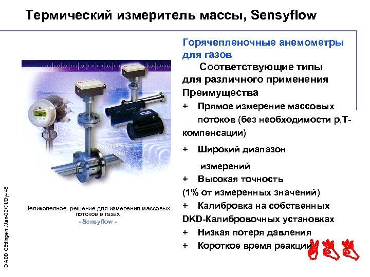 Термический измеритель массы, Sensyflow - Höchste Qualität Горячепленочные анемометры для газов Соответствующие типы для