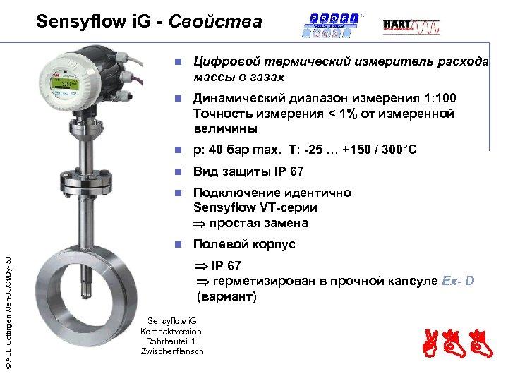 Sensyflow i. G - Свойства Цифровой термический измеритель расхода массы в газах n Динамический