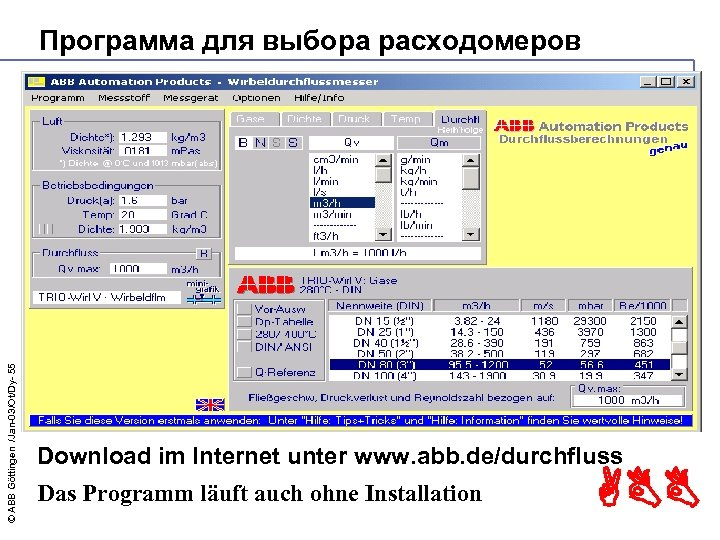 © ABB Göttingen /Jan-03/Ot/Dy- 55 Программа для выбора расходомеров Download im Internet unter www.
