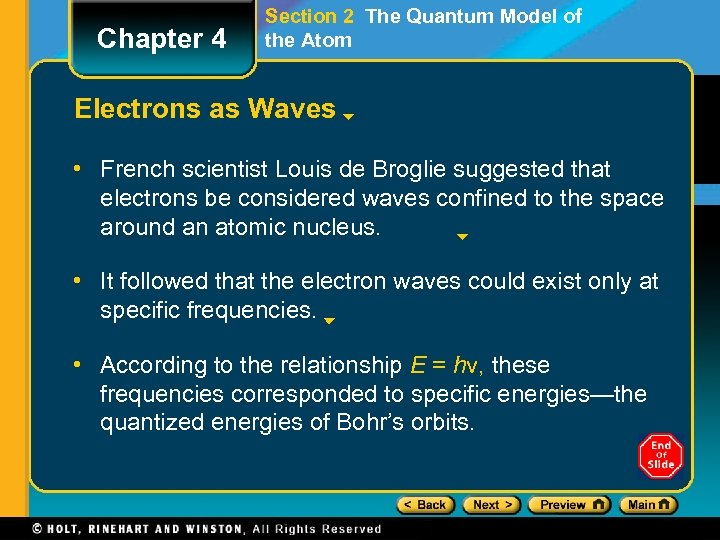Chapter 4 Section 2 The Quantum Model of the Atom Electrons as Waves •