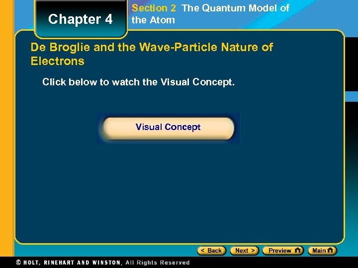 Chapter 4 Section 2 The Quantum Model of the Atom De Broglie and the