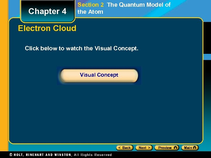 Chapter 4 Section 2 The Quantum Model of the Atom Electron Cloud Click below