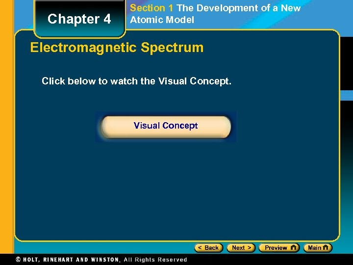 Chapter 4 Section 1 The Development of a New Atomic Model Electromagnetic Spectrum Click