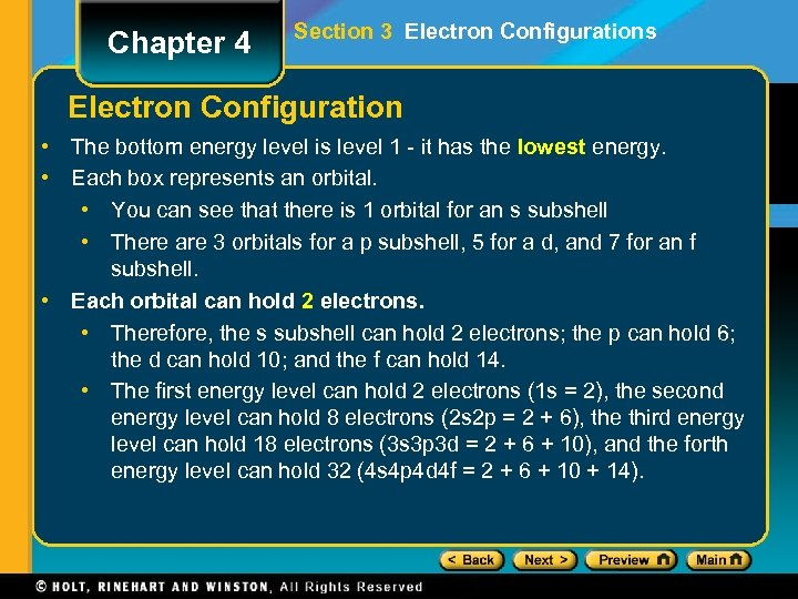 Chapter 4 Section 3 Electron Configurations Electron Configuration • The bottom energy level is