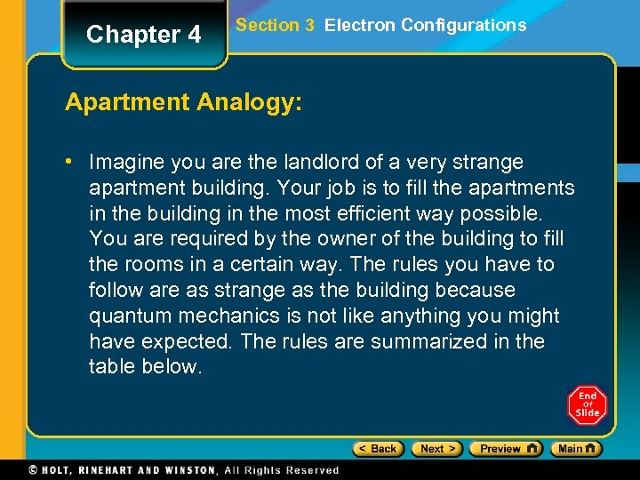Chapter 4 Section 3 Electron Configurations Apartment Analogy: • Imagine you are the landlord