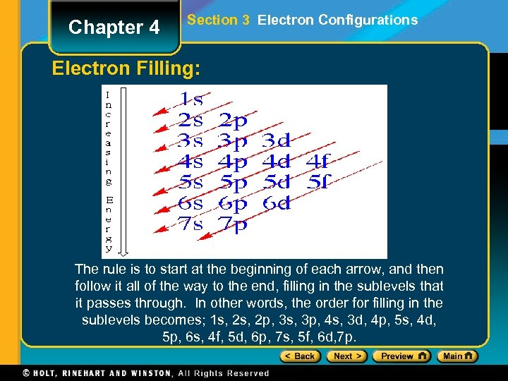 Chapter 4 Section 3 Electron Configurations Electron Filling: The rule is to start at