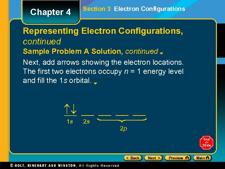Chapter 4 Section 3 Electron Configurations Representing Electron Configurations, continued Sample Problem A Solution,