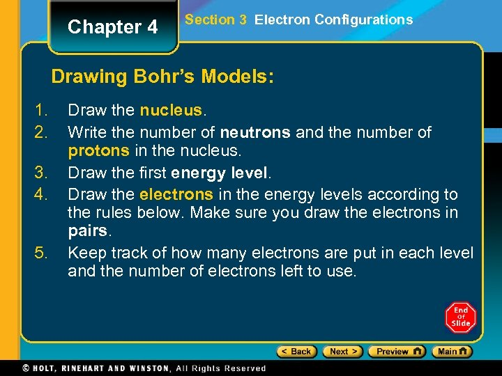 Chapter 4 Section 3 Electron Configurations Drawing Bohr's Models: 1. 2. 3. 4. 5.
