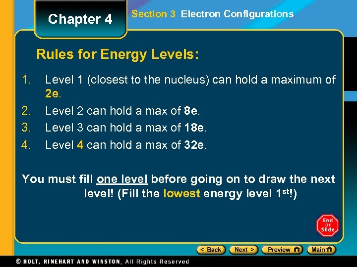 Chapter 4 Section 3 Electron Configurations Rules for Energy Levels: 1. 2. 3. 4.