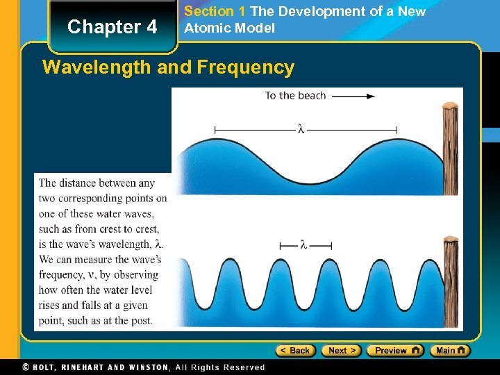Chapter 4 Section 1 The Development of a New Atomic Model Wavelength and Frequency