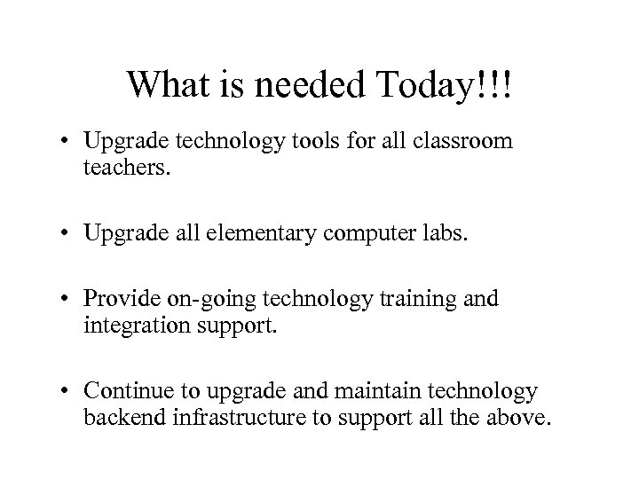 What is needed Today!!! • Upgrade technology tools for all classroom teachers. • Upgrade