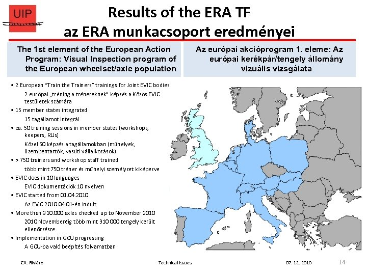 Results of the ERA TF az ERA munkacsoport eredményei The 1 st element of