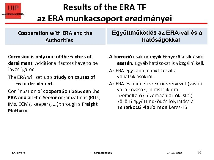 Results of the ERA TF az ERA munkacsoport eredményei Cooperation with ERA and the