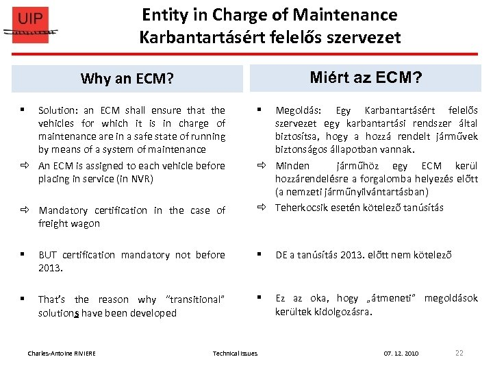 Entity in Charge of Maintenance Karbantartásért felelős szervezet Why an ECM? Miért az ECM?